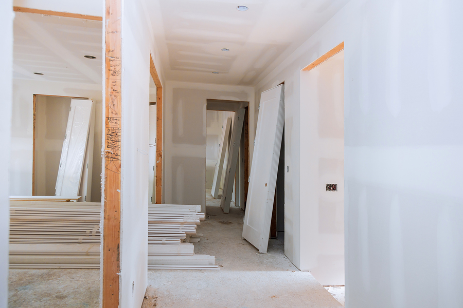 under construction, remodeling installing material new home for repairs in apartment remodeling